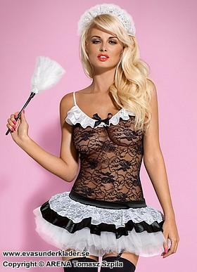 French maid-kostym i spets med kort tyllkjol
